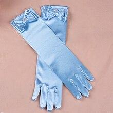 Перчатки для девочек; длинные перчатки принцессы; свадебное платье для девочек; перчатки с бантом; аксессуары для костюма; атласные перчатки; подарок на день рождения; Цвет Синий