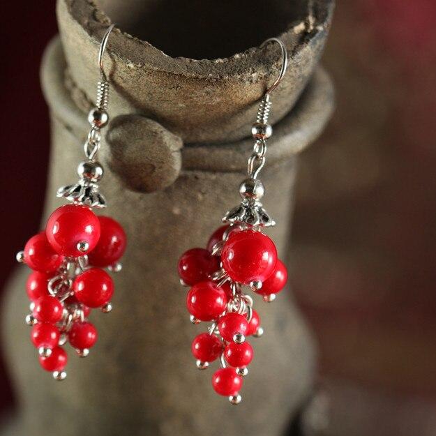 Yanting, новинка, тибетские ювелирные изделия, виноград, стильные серьги, висячие серьги, модное ювелирное изделие, этнический стиль, красные бусы, женский подарок, 0202