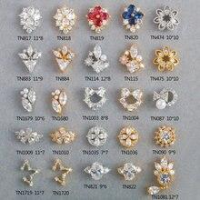 Alliage 3D en Zircon, décoration des ongles, accessoires de manucure, 5 pièces, décoration de luxe, séries de cristaux en zircon, grand niveau supérieur, breloques