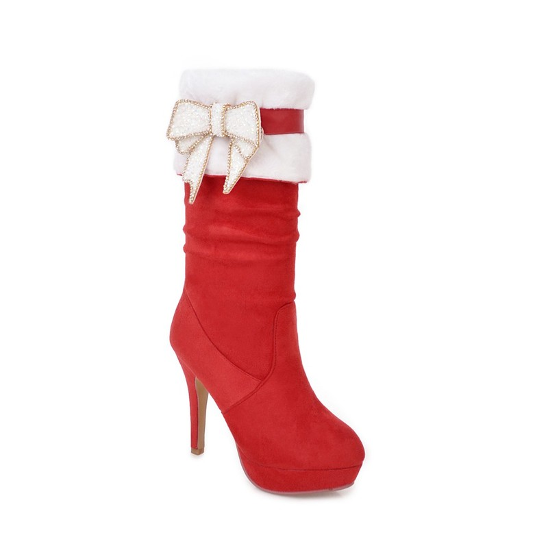 Femmes Solide Mi Pour rouge Femme 43 Plate mollet Bottes Taille Pu forme Grande En Noir Stretch Salu Chaussures 34 Cuir Iw7Bxqw