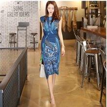 f4a35829cab SMTHMA корейский платье летние женские элегантные Тонкий Повседневная обувь Офисные  бизнес печати повседневное Bodycon(China