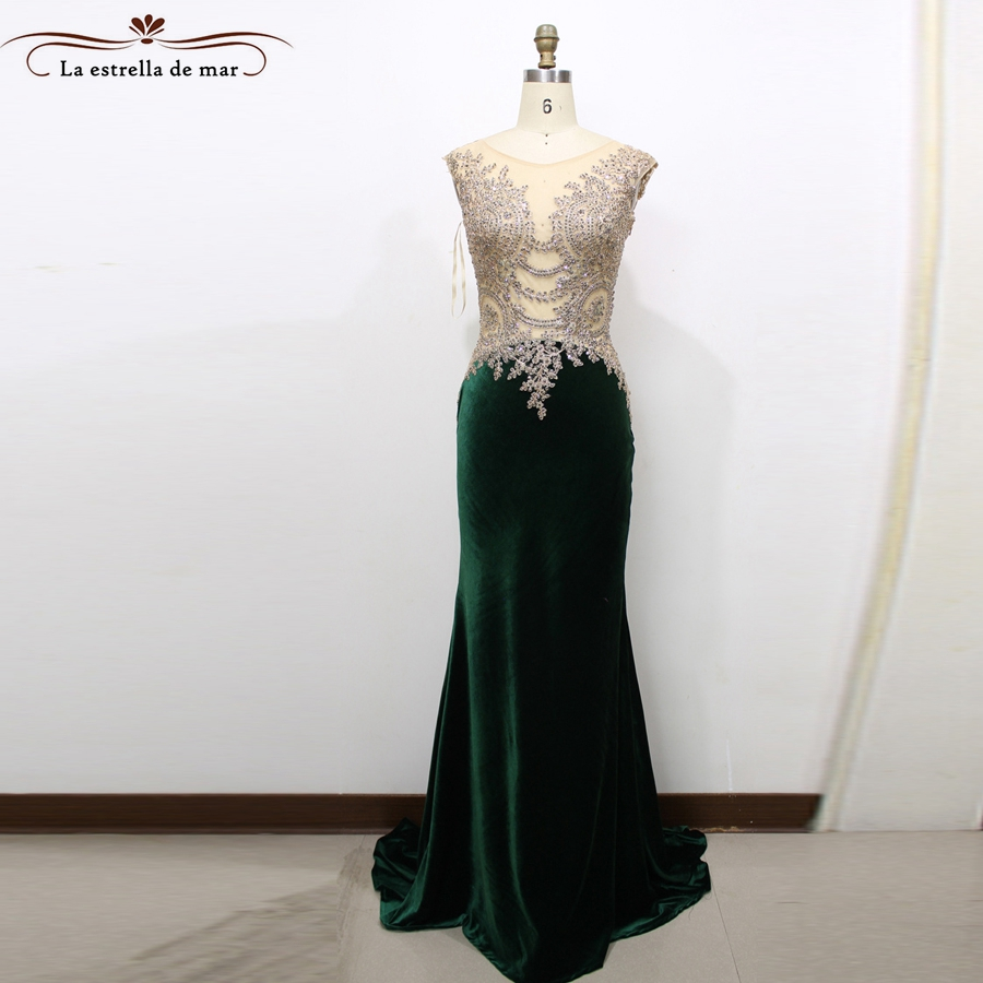 Robe soiree 2018 new lace and velvet sexy mermaid dark green arabic evening gowns dresses long real photo muslim evening dress