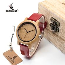 BOBO de AVES WJ09 Simple Dial Reloj de Las Mujeres De Bambú de Bambú de Estilo genuino Rojo PU Banda de Cuero Relojes de Cuarzo Relojes mujer Aceptar OEM