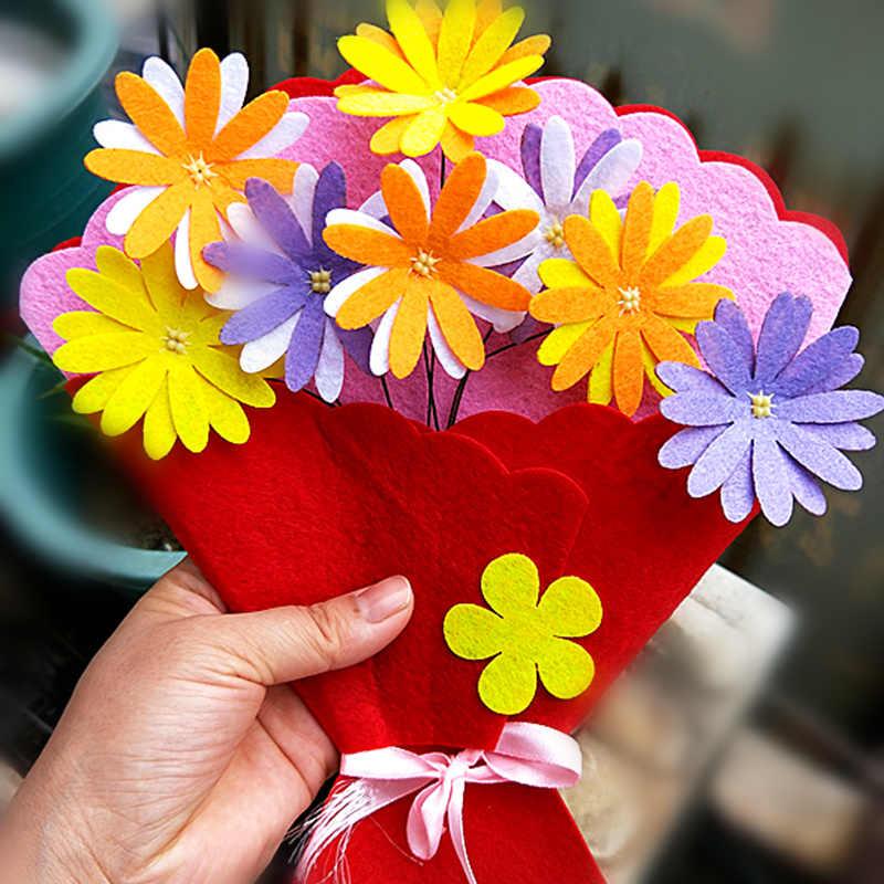 Happyxuan 5 шт. дети самодельный букет Цветочные наборы ручной работы книги по искусству и ремесло детский сад фетр текстильная игрушка благодарим день подарок учителя