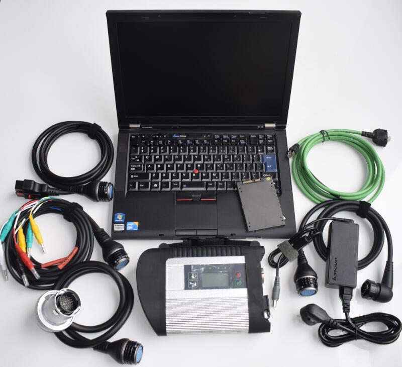 Mb star c4 plein puce diagnostic avec ordinateur portable t410 i5 4g super ssd avec nouveau logiciel 2019.03 meilleure qualité prêt à utiliser super