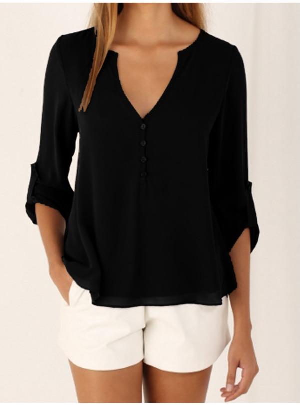 2018 Women   Shirts   Summer Autumn Casual V-neck Chiffon   Blouse   Women Top Camisa Feminina Long Sleeve Black Ladies   Blouses     Shirt