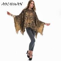 Fashion straat herfst en winter nieuwe mantel 3D luipaard tijger hoofd print heldere draad kwastje warm hedge sjaal poncho deken W92