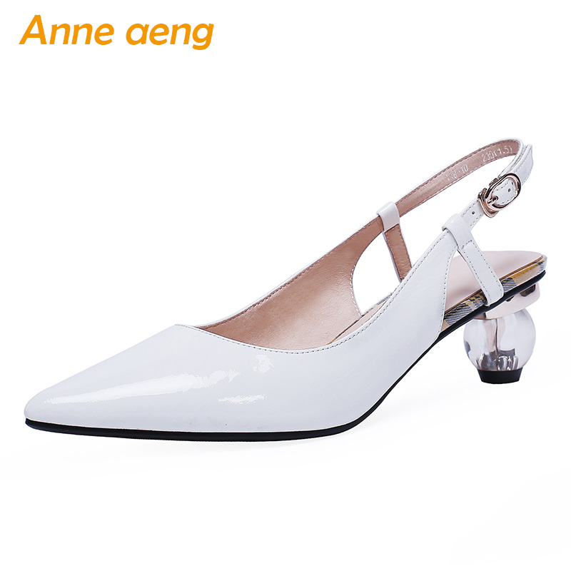 2019 New Summer Genuine Leather Women Sandals Crystal Middle Round Heel Buckle Pointed Toe Sexy Ladies