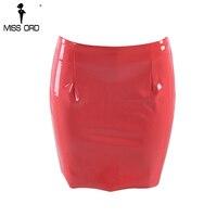 Missord 2018 Sexy zip latex coarl color mini skirts FT8139 9