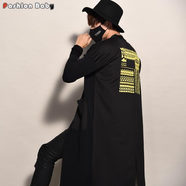 Hombres Único Amarillo Apliques Suelta Cazadora Moda Grandes Bolsillos Cardigan Abrigo de Otoño Invierno 2016