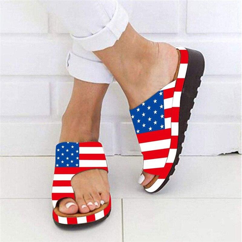 100% Waar Zomer Slippers Voor Vrouwen Mode Vintage Amerikaanse Vlag Dikke Bodem Teen Sandaal En Slippers Clip Teen Zomer Strand Schoenen M #25