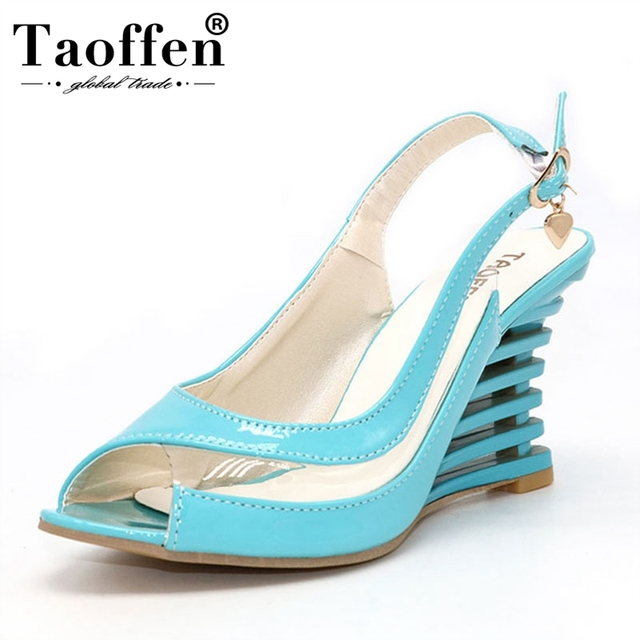 TAOFFEN High Wedge Heel Sandals Buckle Style Open Toe Transparent Shoes Women's Summer Shoes Patent PU Summer Brand New Shoes