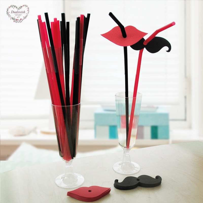 20Pcs Mustache/Red lips/Front teeth Creative Straw Birthday Party Decorations Kids Disposable Straw Party/Wedding/Pool Supplies
