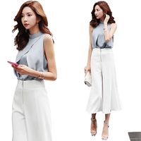 2 Piece Set Women Suit 2018 Summer Gray Sleeveless Chiffon Blouse Shirt Tops And Wide Leg