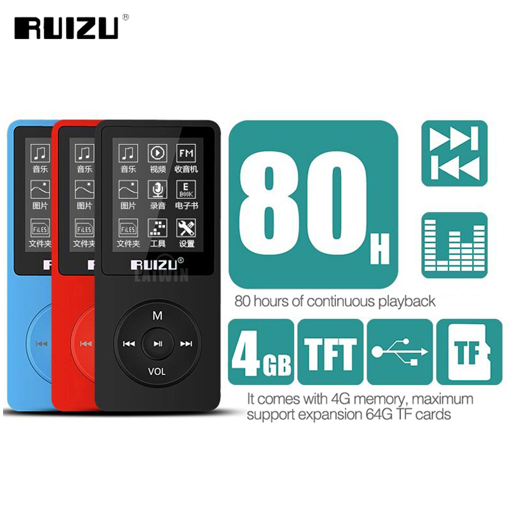 Original RUIZU X02 English Version Ultrathin MP3 Player With 4GB Storage And 1.8 Inches Screen Can Play 80h With FM Radio E-book