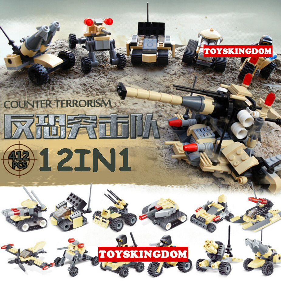Hot Modern Military ww2 Counter Strike Assault force vehicle 12in1 turret truck building block army figures bricks toys for kids