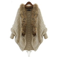 2015 winter new European and American women's knit cardigan coat cape cloak bat shirt loose B037