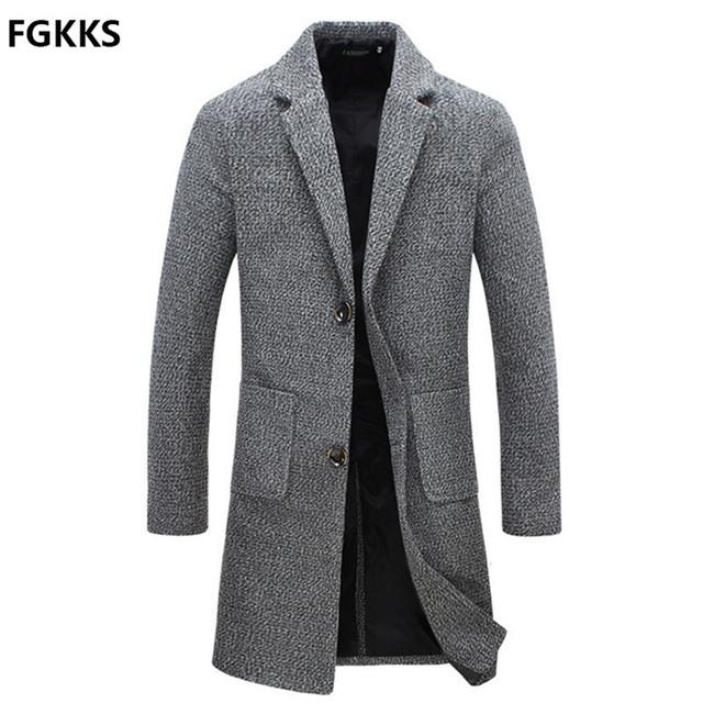 2016 Chegada Nova Marca Inverno Quente Homens Moda Casaco de Lã Mistura Sobretudo Para Homens Qualidade Casaco Casuais Homens Tamanho M-5XL