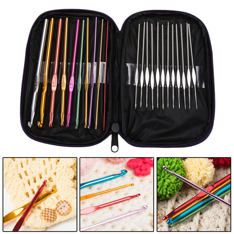 22 pcs/set Needles Crochet Hooks Multi Color Stainless Steel Sewing Knitting Needles Tools with Case for Handle Weave Craft Tool