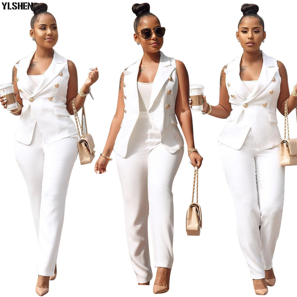 2 Two Piece Set Women Tracksuit Summer Plus Size Sportwear Sexy Elegant Vest Top + Pants Suits Office Outfits Matching Sets 2019
