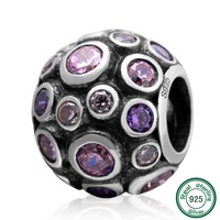 ChaWin 925 Sterling Silver Bead Bead With Clear Pink And Purple Cubic Zirconia Fit DIY Charm