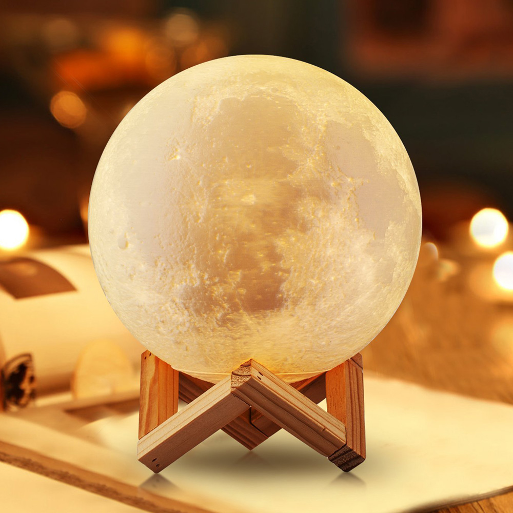 Moon Lights Bedroom: Rechargeable LED Moon Light 2 Colors Change Touch Switch