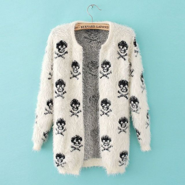 2016 new skull sweaters loose round neck long-sleeved knit mohair cardigan women sweater