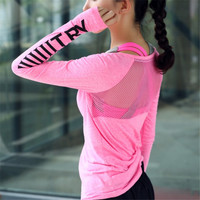 Women Sport Wear Transparent Fitness Clothing Sport Suit Yoga Top Quick Dry Sport T Shirt Gym