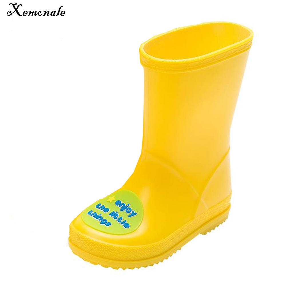Xemonale Baby Cartoon Rainboots Boys Girls Kids Antiskid Wellies Water Shoes Rubber Toddler Shoes Autumn Winter Warm Rainboots