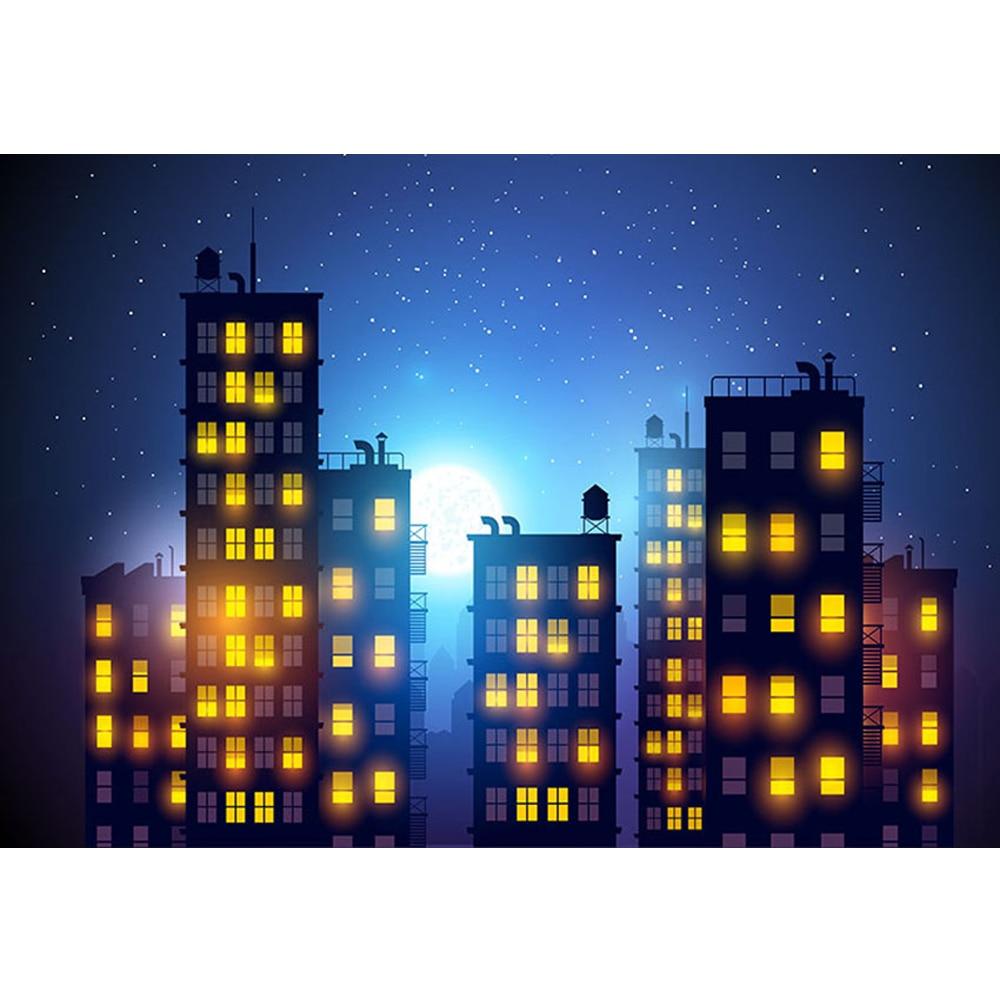 Full Moon Night Glitter Stars Photo Background Dark Blue Sky City Buildings Children Superhero Party Themed Photography Backdrop