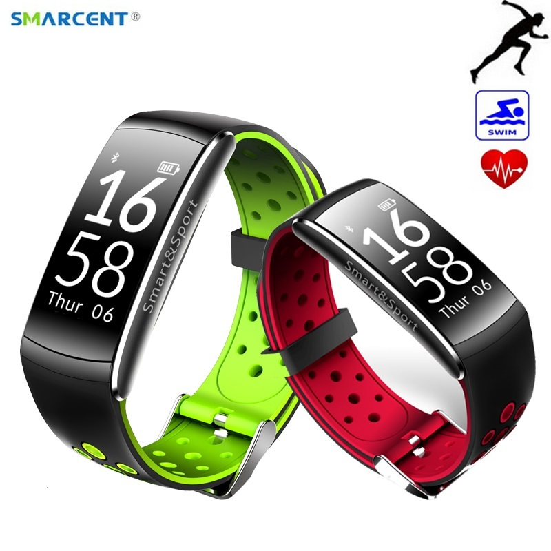 SMARCENT Q8 Waterproof Heart Rate Band Monitor Wristband Bracelet Wrist Smart Watch Futural Digital DropShipping for