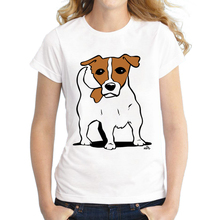 2016 Custom Women T Shirt Jack Russell dog Printed Casual T-shirt Short Sleeve Novelty Funny Tee