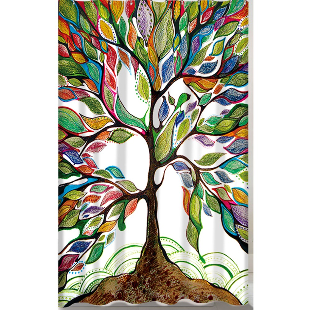 Colorful Life Tree Pattern Digital Printing Shower Curtain Waterproof  Mildewproof Polyester Fabric Bath Curtains Bathroom  In Shower Curtains  From Home ...