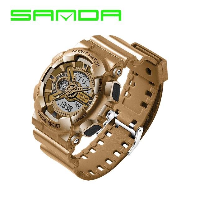 Прохладный SANDA Dual Time Цифровой и Аналоговый LED Подсветкой Водонепроницаемый Армия Спорт Наручные Часы Наручные Часы для Мужчин Boy OP001
