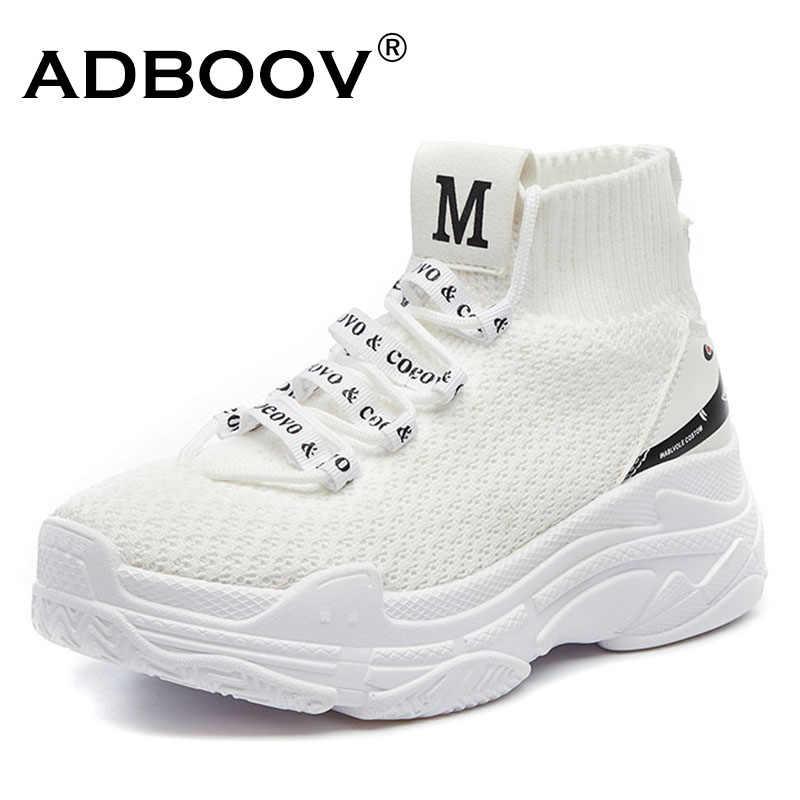 c1d64b66159 ... ADBOOV High Top Sneakers Men Unisex Knit Upper Breathable Shoes Fashion  Shark Logo Couple Black ...