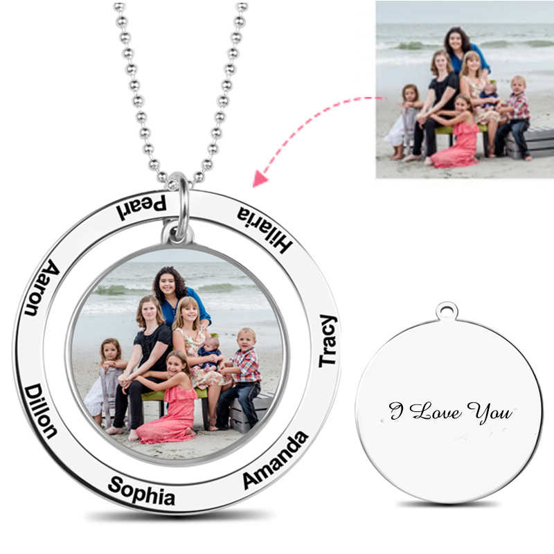 Custom Color Photo Engraved Necklace Personalized Circle Picture Suspensions Memorial Necklaces Silver 925 Chain Women Mom