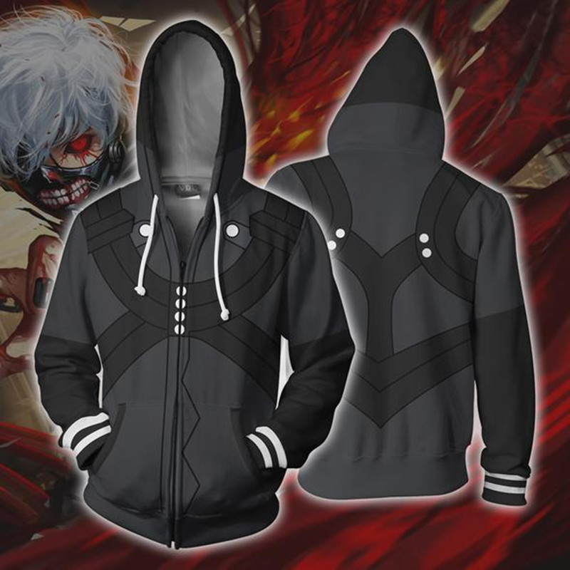 Game High Quality Large Size S-5XL Tokyo Ghoul Sweatshirt 3D Hoodies Cosplay Man 3D Zipper Hoodies Thin Sweatshirts Coat