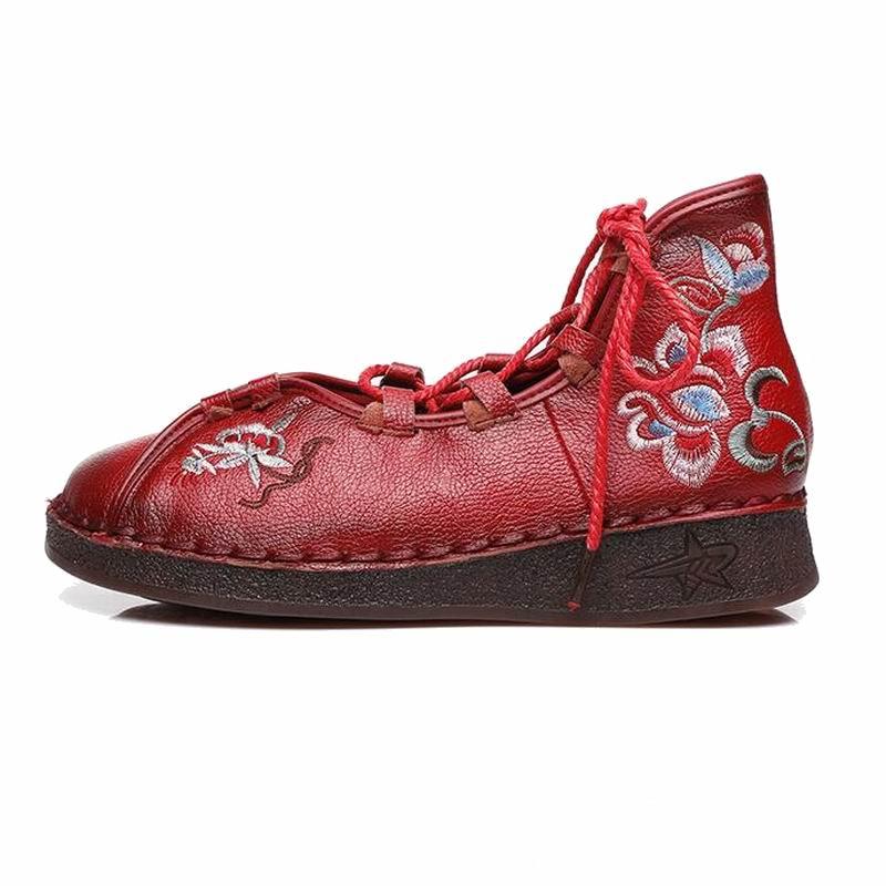 Gktinoo Cuir En Mode De Mocassins Femmes Laçage rouge Confortable La Main Casual Doux Plat Chaussures Noir Mère jaune À Véritable Femme rr8qnxCw