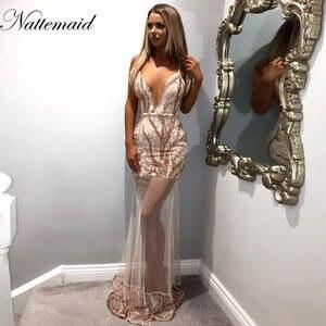 b9d70d674 NATTEMAID Sexy elegant party dresses Women Lace Long