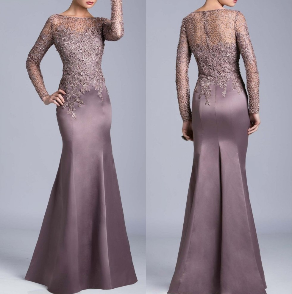 Modern Online Boat Neck Women Fitted Evening Gown Long Sleeve Lace Mermaid Godmother Party 2018 Mother Of The Bride Dresses