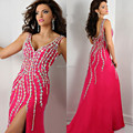 Charming Hot Pink Beaded Long Evening Dress 2016 New Arrival Formal Gowns With Slit Backless Party Dress Vestidos z70302