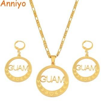 3f39fba85d64 Anniyo Guam colgante collares pendientes conjuntos de joyas para mujeres  acero inoxidable y oro accesorios de Color #072021