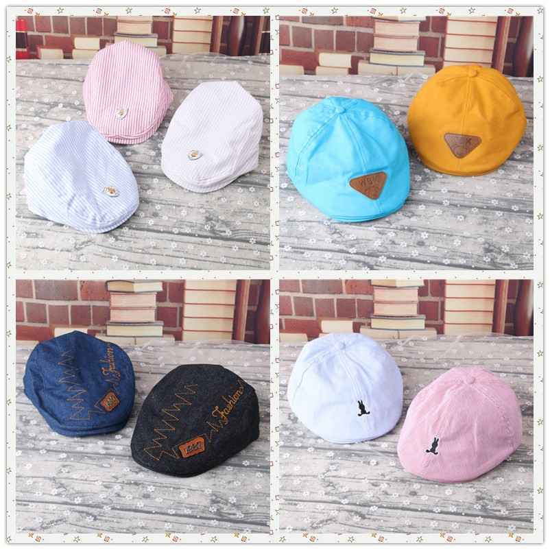 de5e0336c7c 2017 New Baby Cute Cap Cotton Berets Baby Hats Children Hat Female Beret  Stripe pattern Caps Kid Flat Cap For Boy Girl