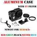 Gopro hero 4 3 + случай Алюминиевого Сплава Защитный Кожух чехол + фильтр лен для Gopro Go pro hero4 hero3 + камера аксессуары