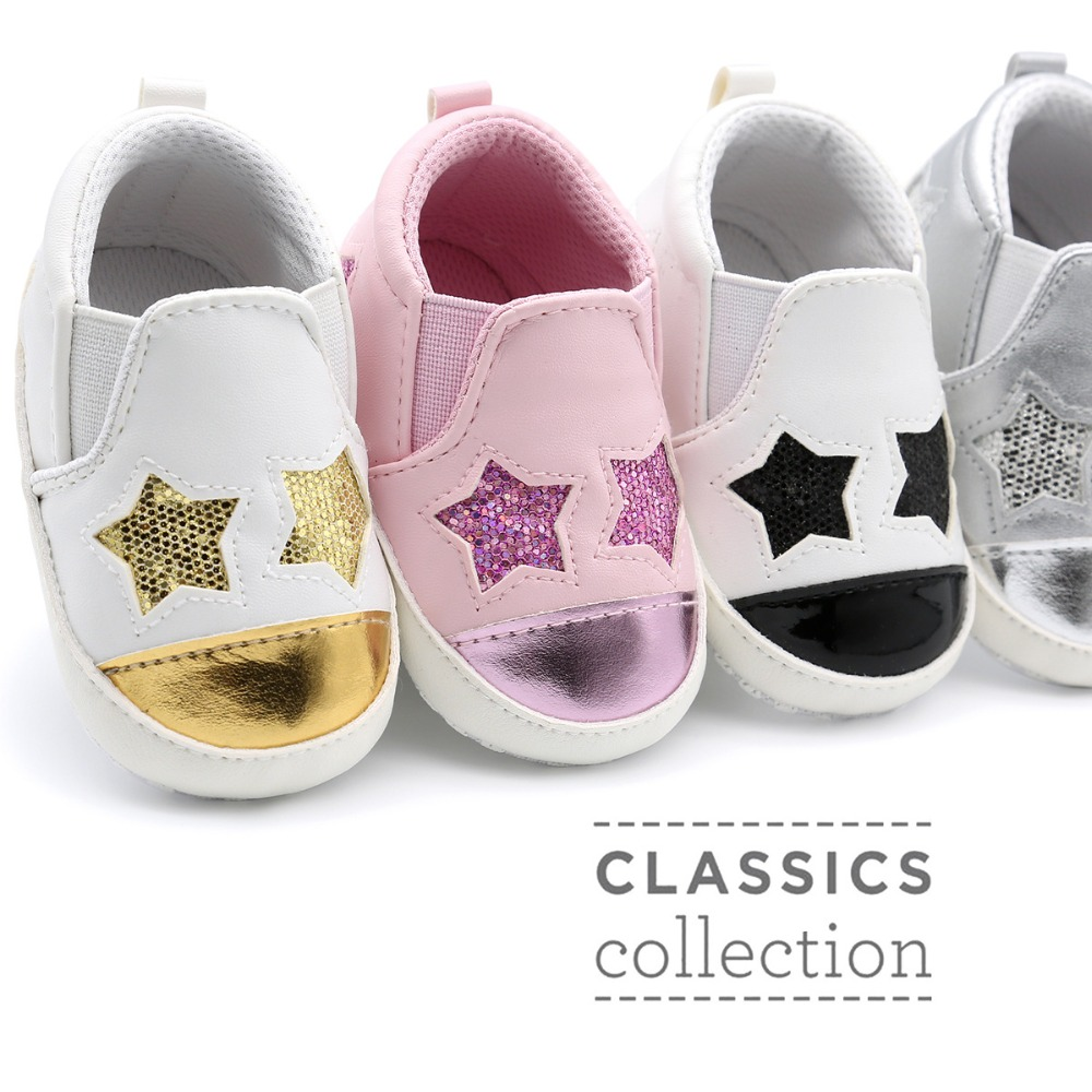 hot sell 4 colors new fashion stars style baby moccasins shoes pu leather baby boys girls shoes for first walkers