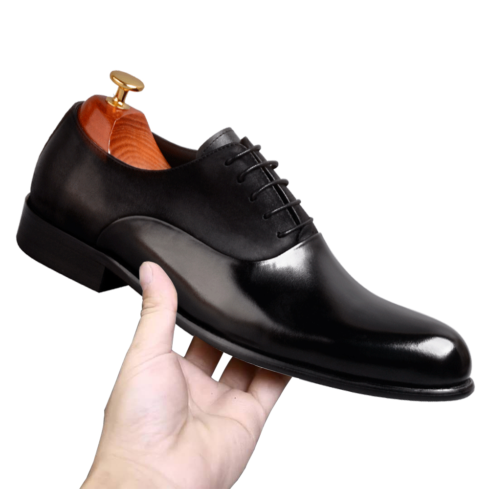 Farvarwo Modern Mens Dress Shoes Black Wedding Genuine Cow Leather&Nubuck Stitching Boss Office Footwear Handmade Formal Oxfords