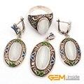 Белый кот глаз и перегородчатые старину Tibeten серебряные серьги-кольца кулон классическая ювелирные изделия для ну вечеринку горячий деталь