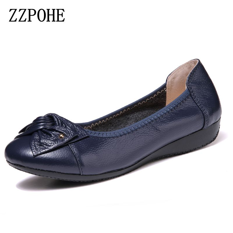 ZZPOHE Women Flats Shoes 2017 Spring Autumn Fashion Genuine Leather Women Flat Shoes Woman Soft Casual Single Shoes Plus Size vintage embroidery women flats chinese floral canvas embroidered shoes national old beijing cloth single dance soft flats
