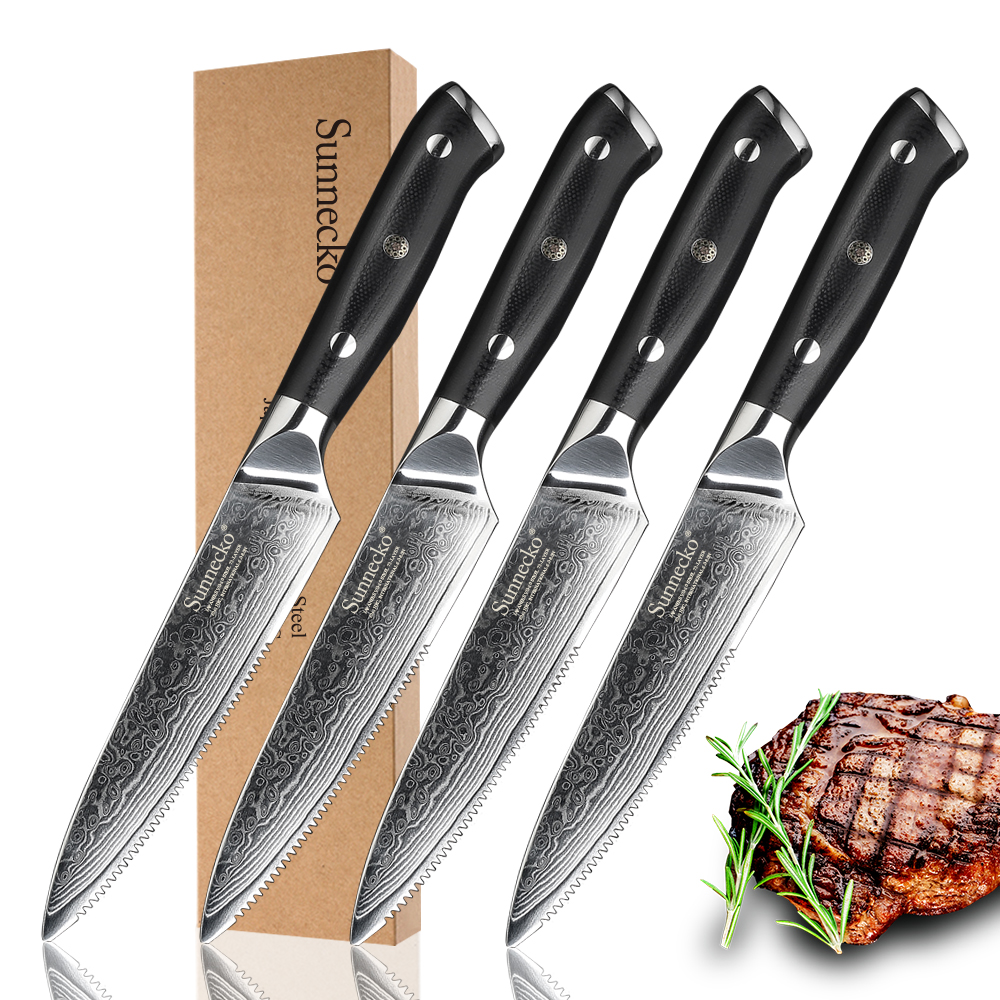 SUNNECKO Premium 4pcs Damascus Kitchen Knives 5 Steak Knife Japanese VG10 Steel Blade Razor Sharp Meat
