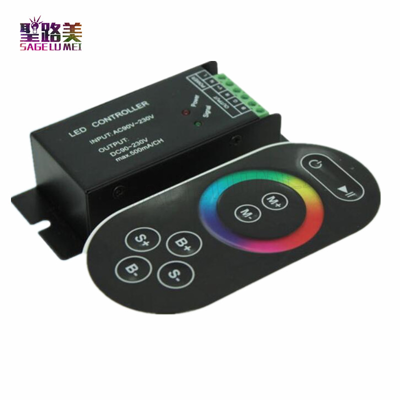 High voltage AC110V-220V led RGB controller 3ch dimmer with RF touch switch remote control for 3528 5050 rgb led strip lighting m3 m4 5a m3 touch rf remote with m4 5a cv receiver led dimmer controller dc5v dc24v input 5a 4ch max 20a output